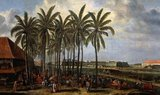 A Batavia market is in full swing in the shade of the coconut palm trees. Traders from Java, China, Bengal and Europe are depicted trading with locals. In the background is the fortfified Batavia Castle, the Asian headquarters of the Dutch East India Company. Through the centre flows the Ciliwung, also known as Kali Besar ('Great River').<br/><br/>  The Dutch East India Company, or VOC, was a chartered company granted a monopoly by the Dutch government to carry out colonial activities in Asia. It was the first multinational corporation in the world and the first company to issue stock. It was also arguably the world's first megacorporation, possessing quasi-governmental powers, including the ability to wage war, imprison and execute convicts, negotiate treaties, coin money and establish colonies.<br/><br/>  The VOC was set up in 1602 to gain a foothold in the East Indies (Indonesia) for the Dutch in the lucrative spice trade, which until that point was dominated by the Portuguese.<br/><br/>  Between 1602 and 1796, the VOC sent almost a million Europeans to work in the Asia trade on 4,785 ships, and netted more than 2.5 million tons of Asian trade goods.