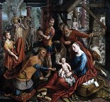 According to Christianity, the Three Kings, or Three Wise Men, travelled from the East to Bethlehem to pay homage to the newly born Messiah, the son of God. Cradled in his mother the Virgin Mary's hands, the baby Jesus holds up his hand in a blessing. Before him kneels King Melchior, offering a gift of gold. Joseph, Mary's husband, stands behind in red.
