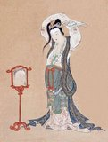Maruyama Ōkyō was a Japanese artist of the Edo Period who specialised in painting in a traditional Chinese style combined with Western elements such as perspective. This features in 'Portrait of a Chinese Beauty' with the use of reflection (albeit rather inaccurately rendered) in the mirror.